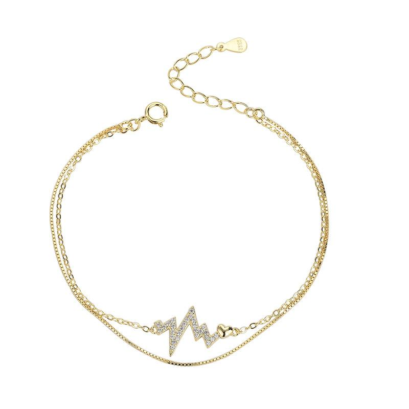 Y s925 esterlina estilo coreano prata zircónio-embutido pulseira ecg invertido hipster duplo camada pulseira corrente moq1 tghcp