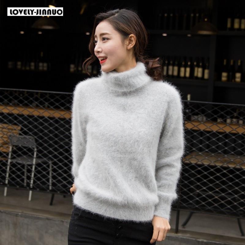 женщины новой Европы 100% реальная норка кашемир свитера женской водолазки свободный утолщенной базовую бесплатная доставку JN245 T200724