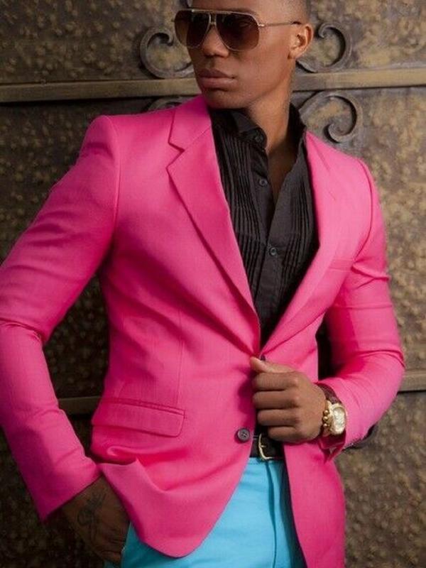 Hot Pink Men Suits Blazer Pants Tailored Fit Prom Party Tuxedo Groom Suits For Men Wedding Notch Lapel 2 PCS Jacket&Pant