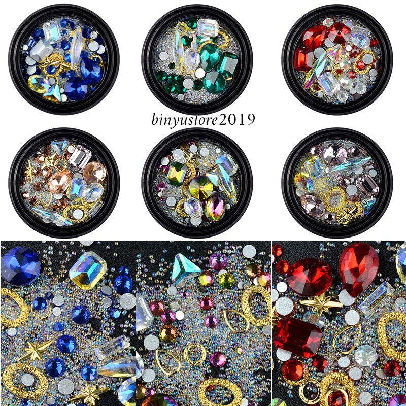 Nail Art Decoration Charm Gem Beads Rhinestone Hollow Shell Flake Flatback Rivet Mixed Shiny Glitter 3D DIY Accessories