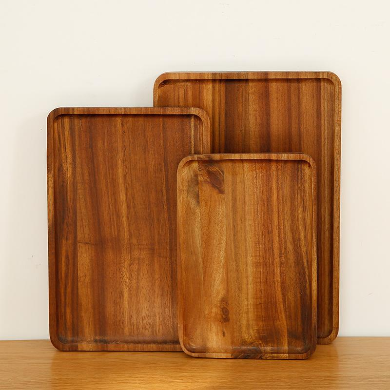 بسيط دائم أكاسيا الخشب البليت بسيط علبة شاي شوى كعكة اللوحة المنزلية مطعم سكين شوكة لوحة طبق المائدة