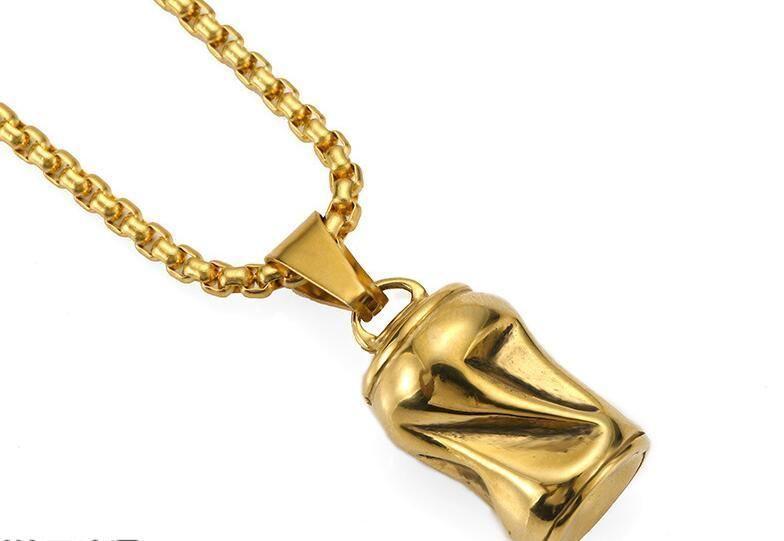 La nouvelle bouteille peut pendentif hop hip-personnalité collier accessoires populaires en acier de titane logo, cadeaux d'amis, Livraison gratuite