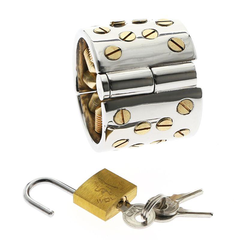 Kalis dientes 4 filas Gold Spike extrema castidad dispositivo de bloqueo del martillo del anillo del martillo por hombres escroto colgante Mujer Tortura dispositivos BDSM Juguetes T200727