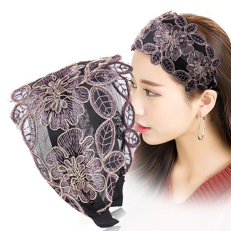 Breite spitze stickerei haarnadel mit gezahnt stirnband einfache haarband mode frauen 5 farben großhandel