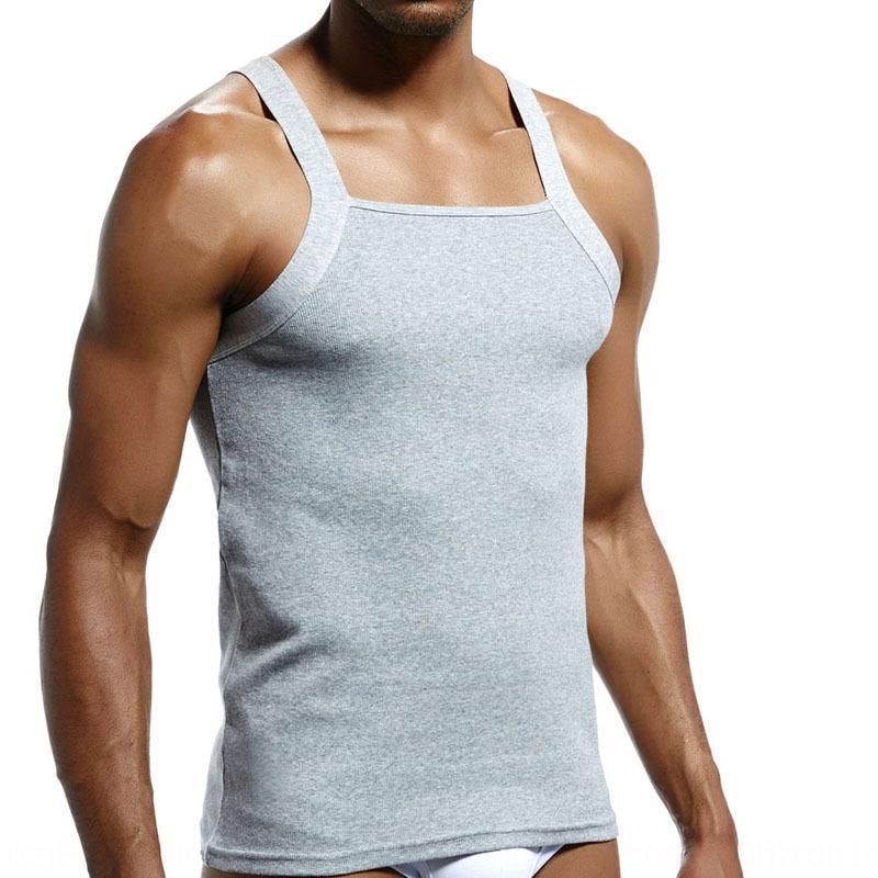 nouveau fil de coton de couleur SuperBody de t9oSM hommes solides près du corps gilet gilet sueur absorbant élevé sexy élastique unique creux