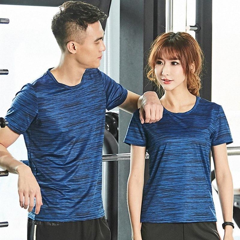 Quick Dry T-shirt Respirant Printemps Eté Fitness extensible à séchage rapide à manches courtes Compression Collants Fitness Course à pied Muscle ZiZx #