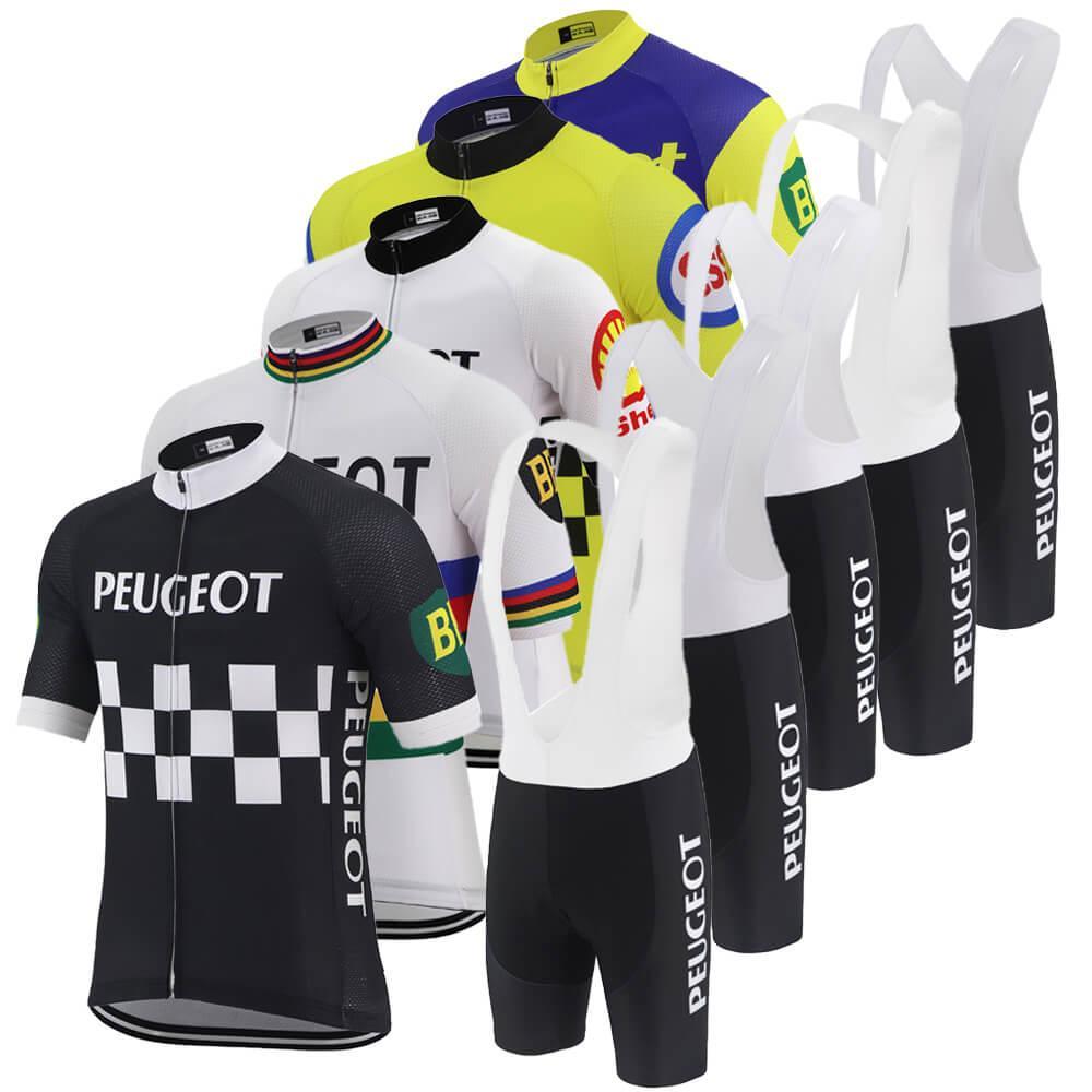 반바지 자전거 저지 자전거 의류 턱받이 클래식 프로 팀 사이클링 저지 세트 남성 여름 짧은 소매 도로 경주 자전거 저지 검은 색 복고풍