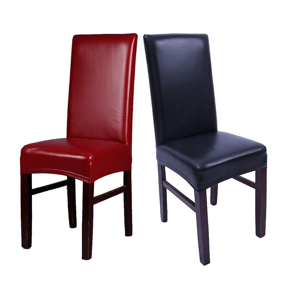 Caliente 1PC del hogar Decoración elástico de la PU oilproof cubierta de la silla del hotel Silla de oficina impermeable Decoración Rojo / Negro / café del multicolor
