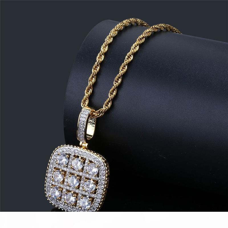 Collana qualità dell'oro alto argento CZ di colore gemma per donne degli uomini di Hip Hop dei monili della collana di Nizza regalo