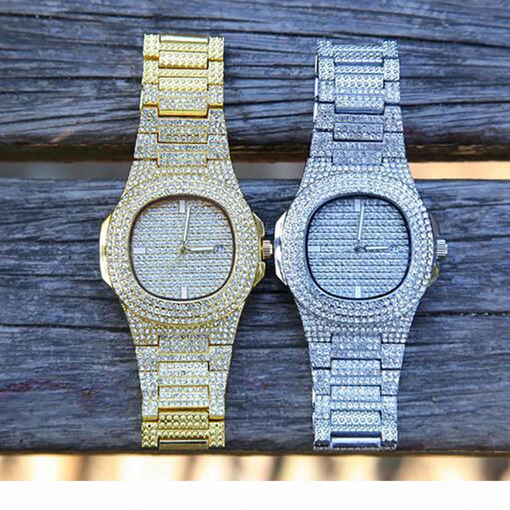 H 49mm Bling Bling Iced Out Golduhr simulierter Diamant-Kristallrhinestones Kalender Quarz Staness Stahlband Hip Hop Uhr