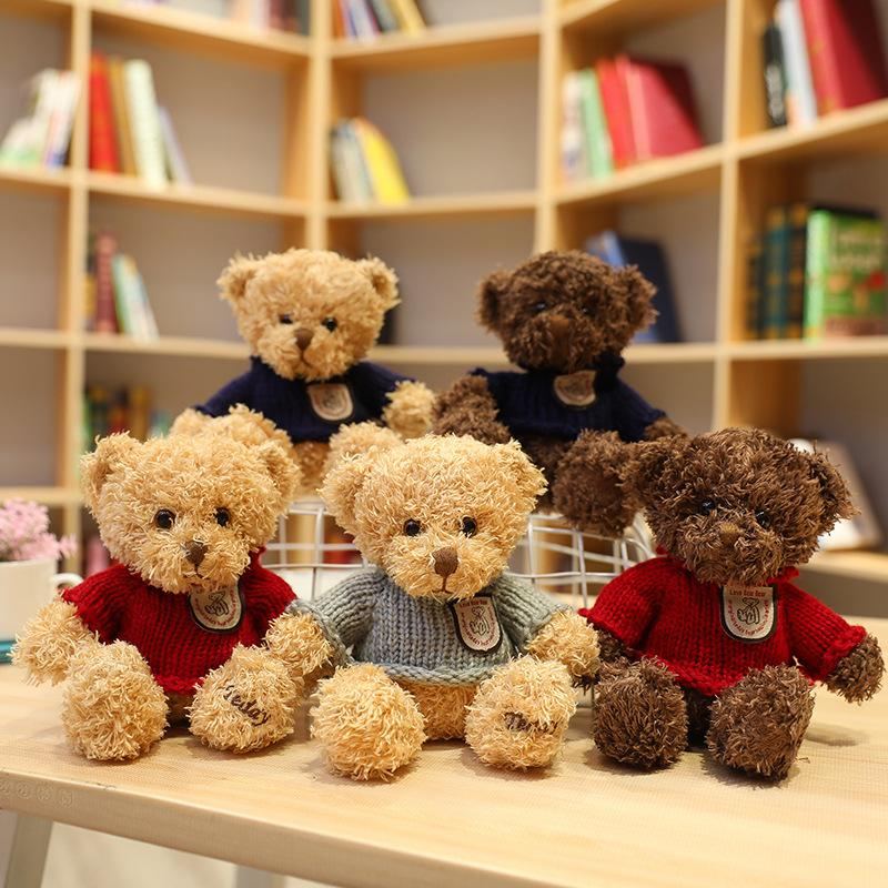 17cm cute love teddy bear stuffed toy small cartoon sweater bear plush animal doll girl Valentine's Day gift children Christmas event gift