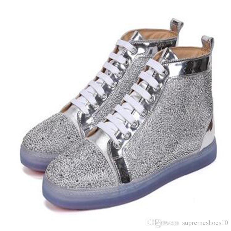 2020 novos sapatos casuais luxuosos caminhada sapatos casuais, Men Top Fashion alta Top parte inferior vermelha de cristal Sapatilha CC3 Rhinestone Train Outdoor