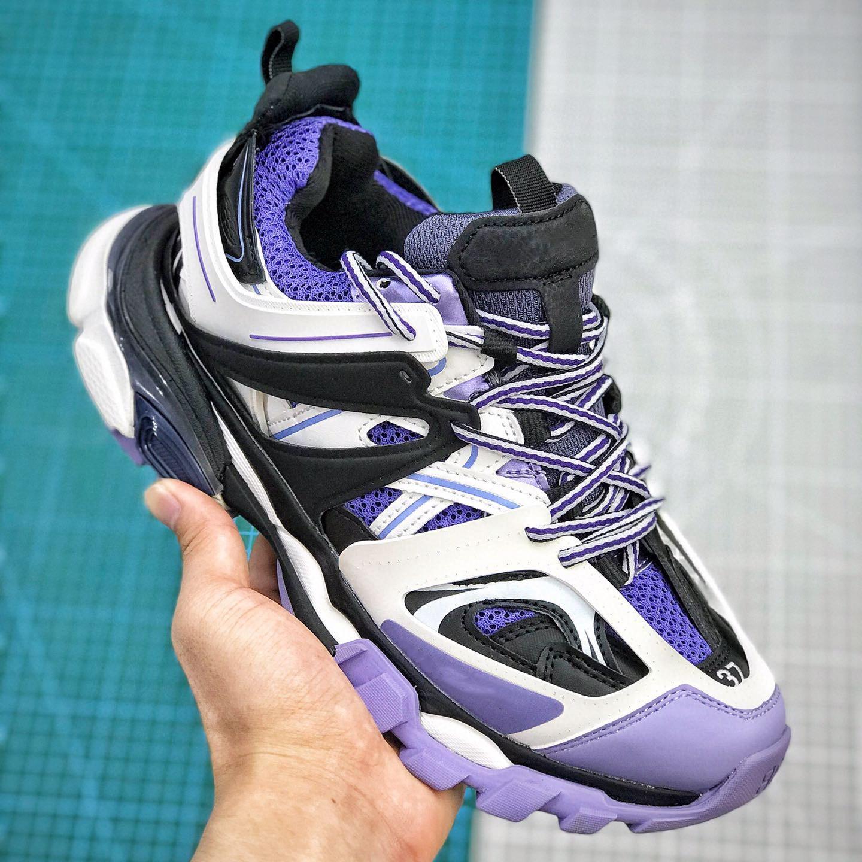 Roxo preto trilha Paris 3,0 Tess Homens Mulheres Triple S Cruz calçados casuais Clunky Sneaker Gris malha respirável Dad sapatos Caminhadas Alpercatas