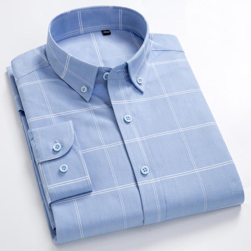 Men's 100% Cotton Long Sleeves Shirt Big Plaid Turn-Down Button Collar Shirt High Quality Stripes Casual Shirts Plus Size S-8XL CX200718