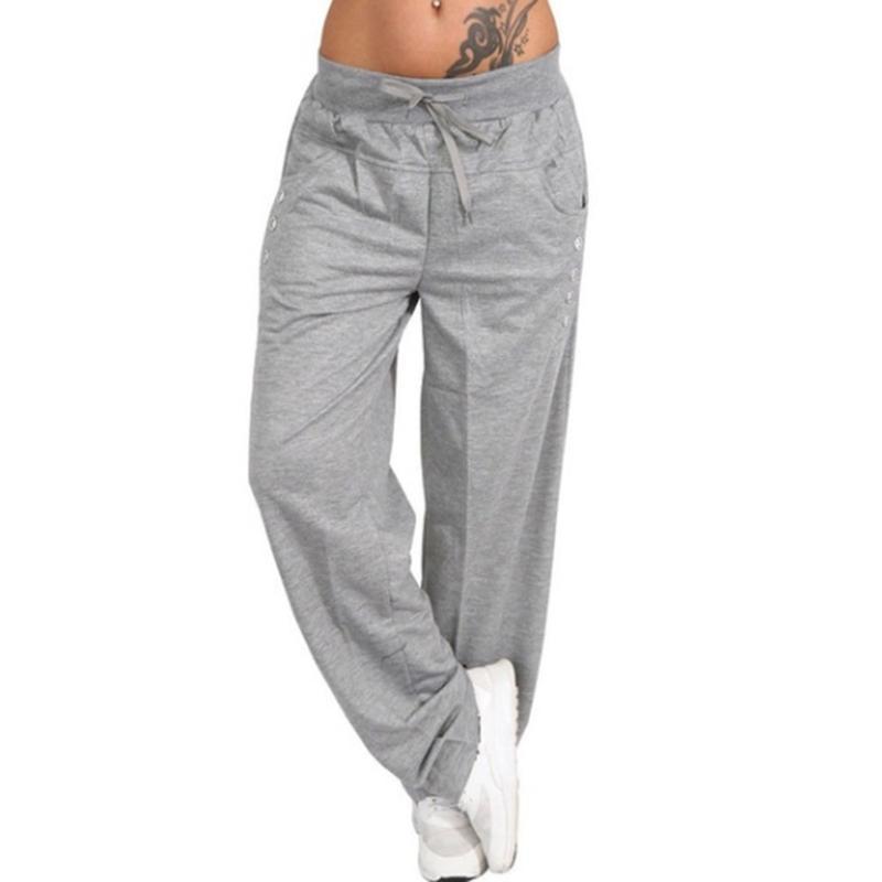 المرأة السراويل كابريس فضفاض رياضة الحريم واسعة الساق عالية الخصر الدانتيل يصل مستقيم زائد حجم sweatpants ركض السراويل pantalon فام 2021