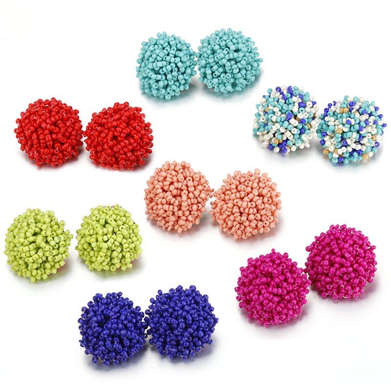Bohemia Perles à la main Big Stud Boucles d'oreilles pour femmes Fille fille ethnique bijoux accessoires de la mode résine Boucles d'oreilles 13 couleur