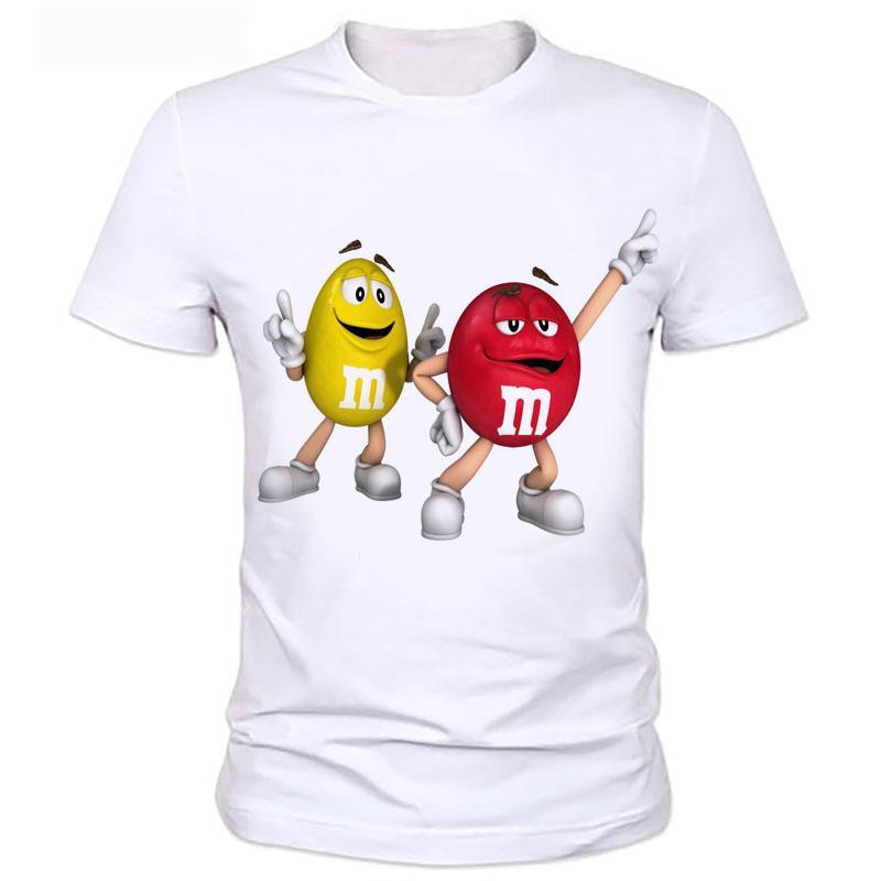 Топы смешной футболки графический тройники мужчин / женщин 3d мультфильм печати еды тенниска шоколада ММ с коротким рукавом шелковистые футболки