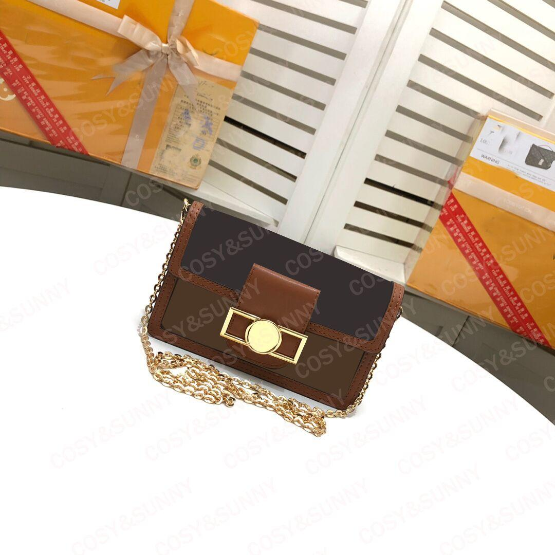 Fashionable new cowhide small square bag for women's crossbite chain bag single shoulder popular women's bag