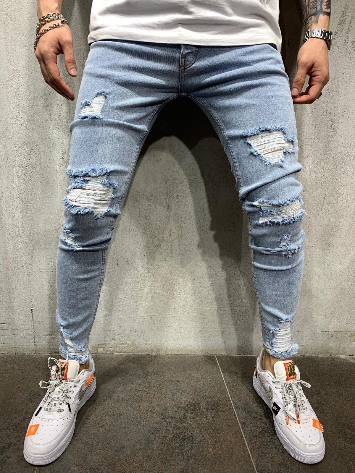 A2jTR 2020 Высоких джинсы мужских Приталенный тощие пяты обрезанной рваные брюки джинсы модной молодежь и стрит