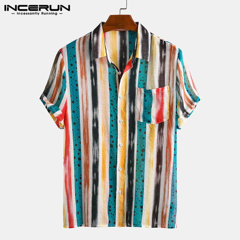 INCERUN modo ha stampato Shirts con striping vintage manica corta risvolto Camisa allentato rigonfio Blusas Estate hawaiano Vocazione Shirts7