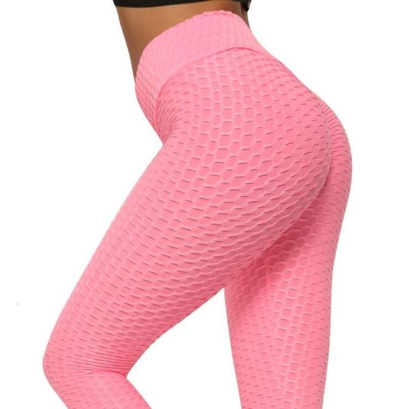 Jacquard Solid Legging Donne Poliestere Super Elastic vita alta Pant Leggings allenamento spinge verso l'alto fitness femminile Leggings Sportswear