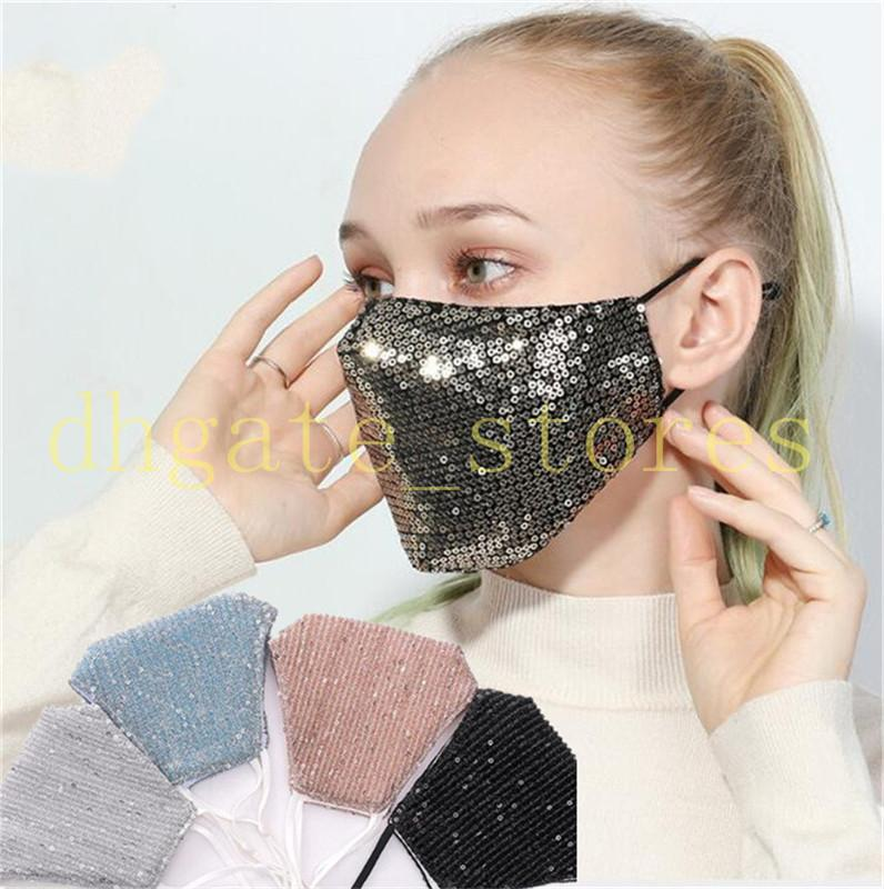 Bling Bling блестки Маски моющийся Sequined пришивания маска для лица Конструктор женщин Блеск Рот Обложка 3D Face Shield многоразовый Блестящие Маски LY714