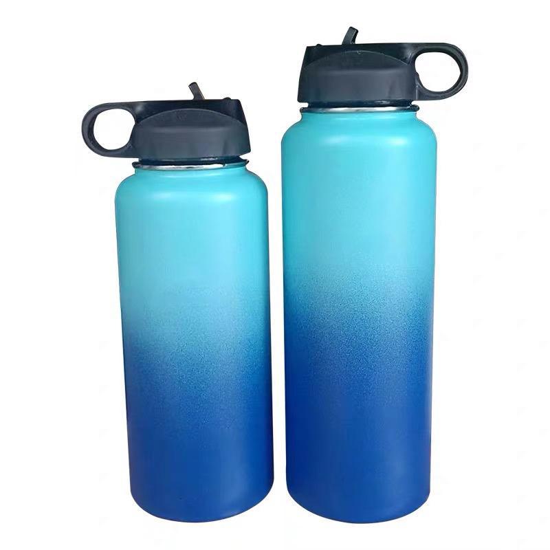 32 oz 40 oz de vacío El recorrido al aire con aislamiento de grado alimenticio botella de agua inoxidable 18/8 deportes de gimnasia de acero con paja tapa T200717