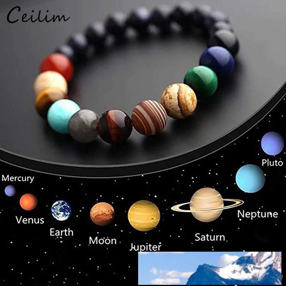 Galaxy pulseras Chakra ocho planetas pulsera con cuentas de Yoga Sistema Solar Piedra Natural Hombres Universo para mujeres de los hombres de joyería 2019
