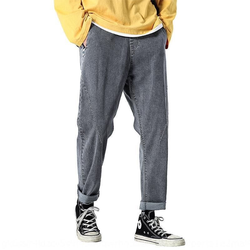 Herbst-Jeans Herren-Modemarke lose gerade knöchellange Jeans Breite breite Bein trendy tropfenförmige Breitbein Hosen der Männer Vater Hosen