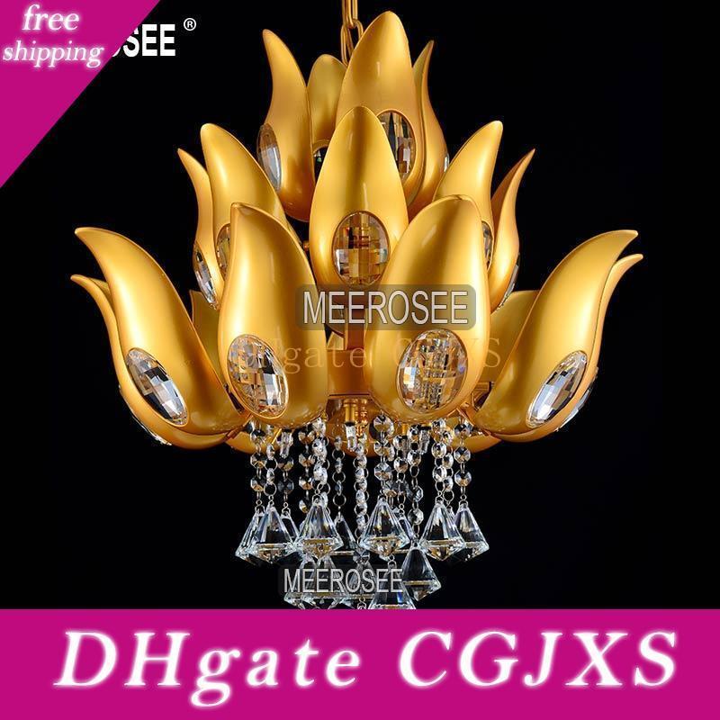 Modern Floral Design Gold Crystal Chandelier Light /Lamp /Lighting Fixture Gold Color Light For Lobby ,Foyer ,Staircase Md15170