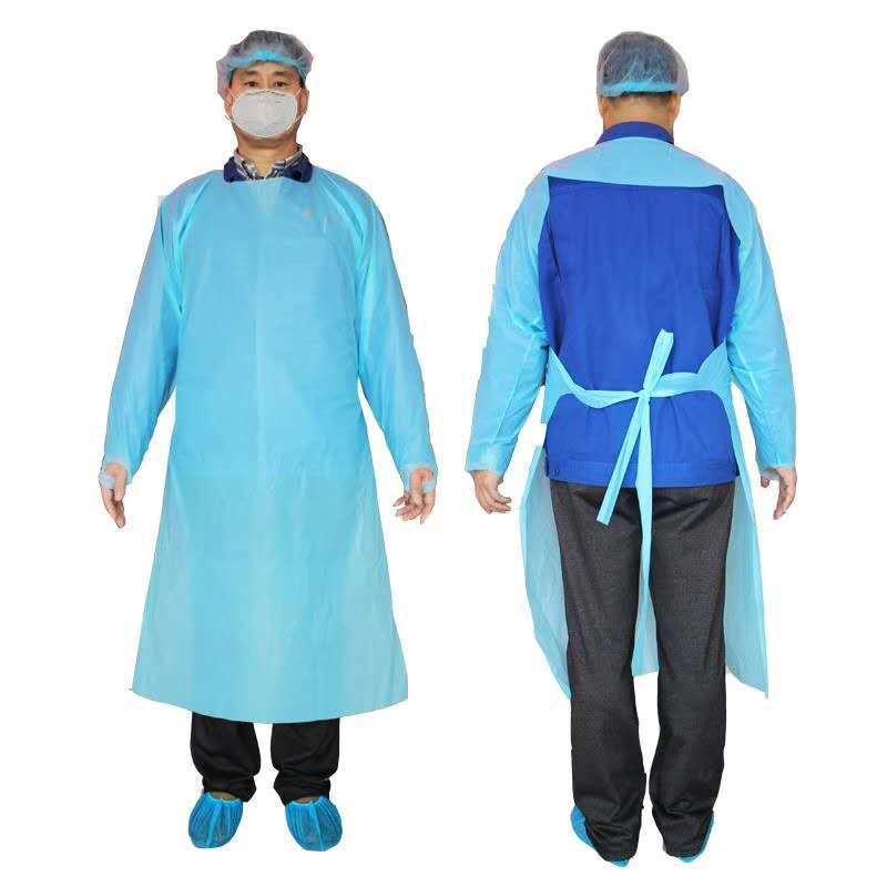 CPE Koruyucu Giyim Tek Kullanımlık İzolasyon Törenlerinde Giyim Takım Elastik Kelepçeler Anti Toz Önlük Açık Koruyucu Giyim ZZA2228