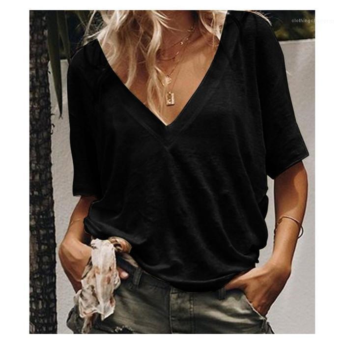 Рукав Сыпучие Мода Тис женщин пуловер 3XL вскользь Tops Женщины Solid V-образным вырезом Летняя футболка Женщина Замыкание