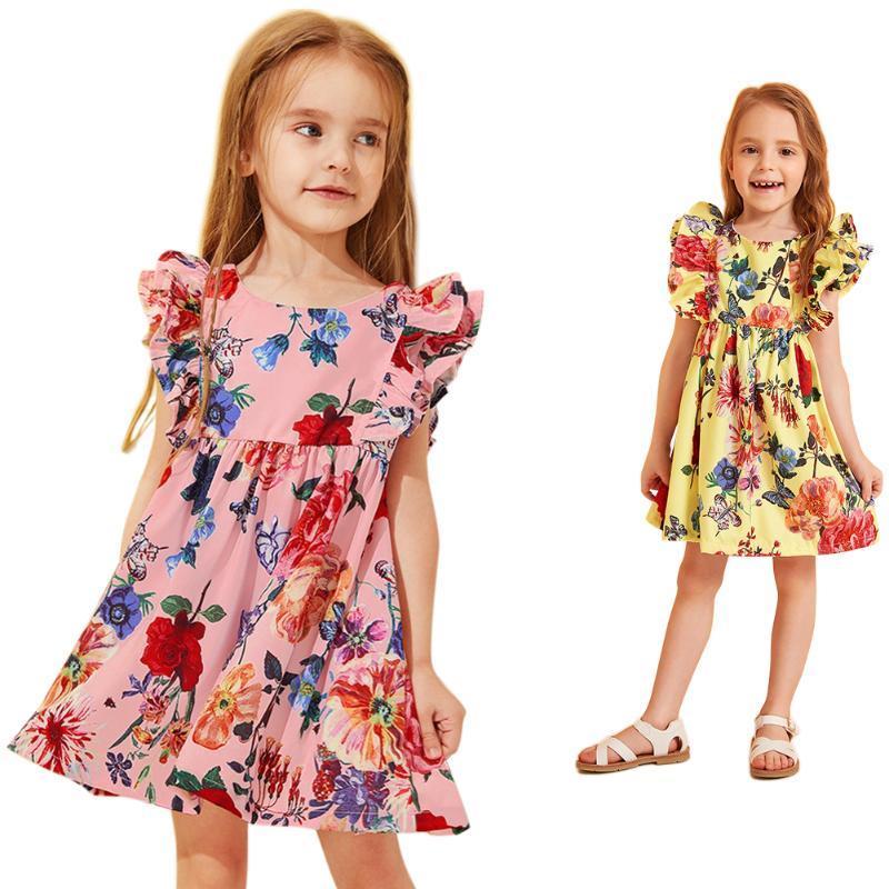 Enfants Robes Bébés filles fleurs imprimées manches princesse robe d'été Vêtements d'été Vêtements pour enfants Tenues 1-4T