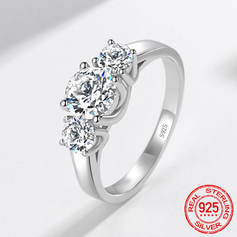 100% Original 925 Solid Silver Ring Staggered Connection 6mm 1ct CZ Zirconia Wedding Engagement Rings For Women Fine Jewelry Gift XR445