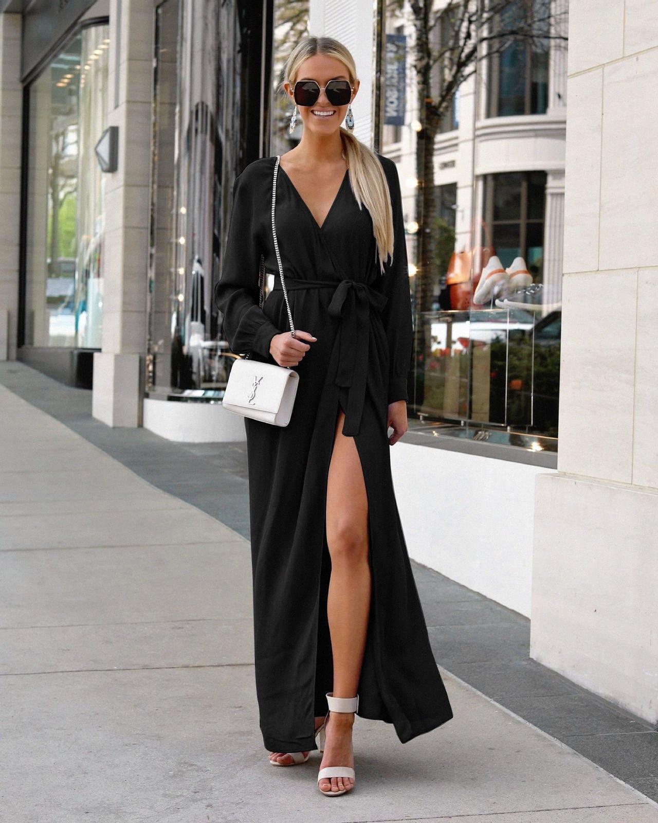 Señoras vestidos largos casuales de manga V profundo atractivo del vestido de ropa de mujeres Streetwear vestidos largos con la correa Diseño color sólido vestidos K lOv9 #