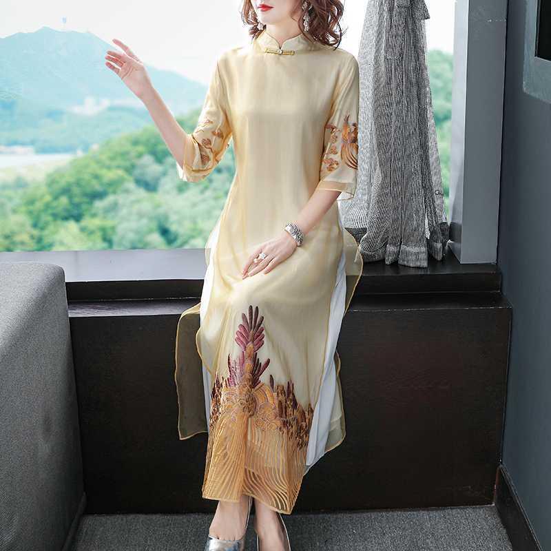 Платья для вечеринок 2021 старинные Улучшенные Cheongsam Платье Женщины Высокое Качество Довольно Элегантная Вышивка Современная Аодай