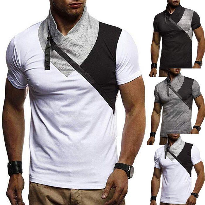 Puls Размер Мужские футболки Turtle Neck Лоскутная с коротким рукавом Топы Одежда Casual Men Дизайнер футболки