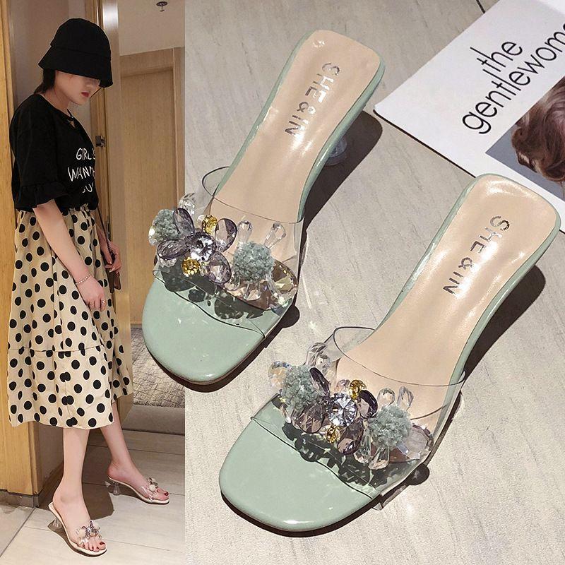 Cristal grande sandalias transparentes de vidrio altos talones de las mujeres zapatillas diamantes Sandales zapatos de las señoras del verano Hembra sandalias claras