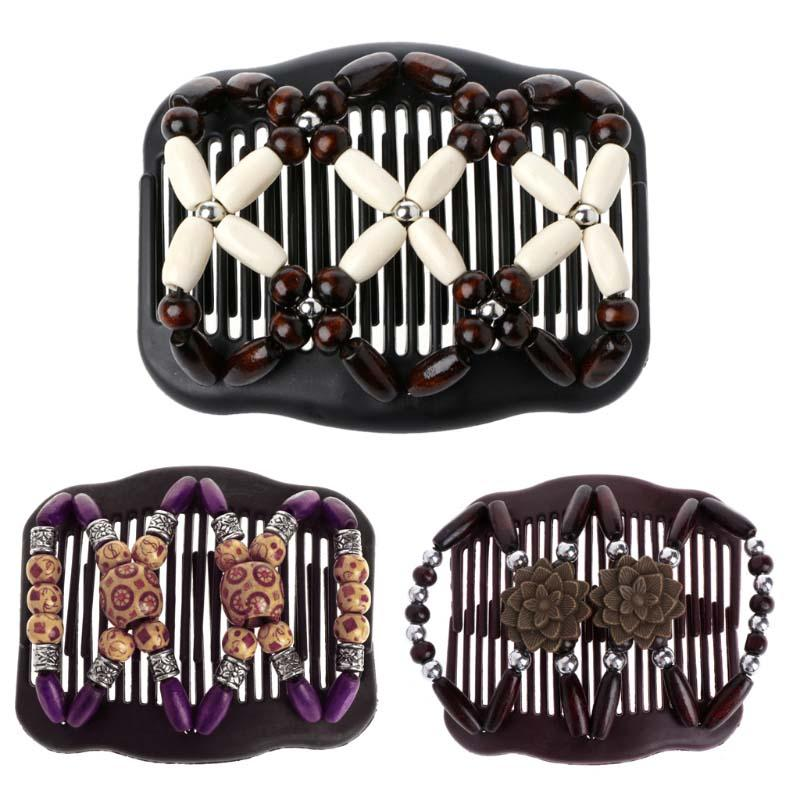 Vintage Butterfly Combs Simulated Wood Bead Stretchy Hair Combs Double Magic Slide Comb Clip Hairpins For Women Hair Accessories