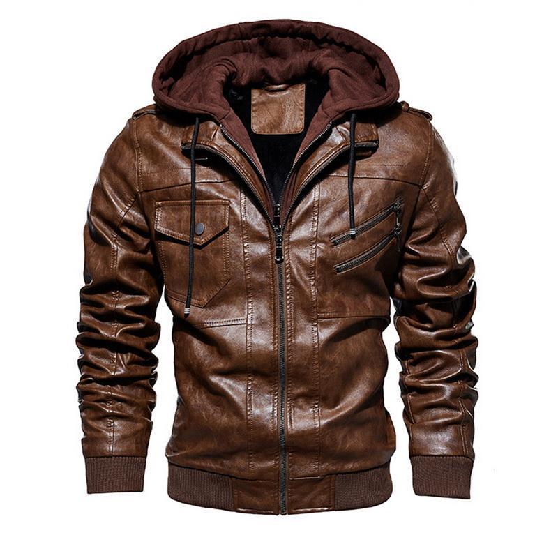 Otoño Invierno Chaqueta Moto Hombre de la motocicleta chaqueta de cuero de los hombres de la chaqueta rompevientos con capucha caliente de la PU de las chaquetas de vestir exteriores de la PU de béisbol