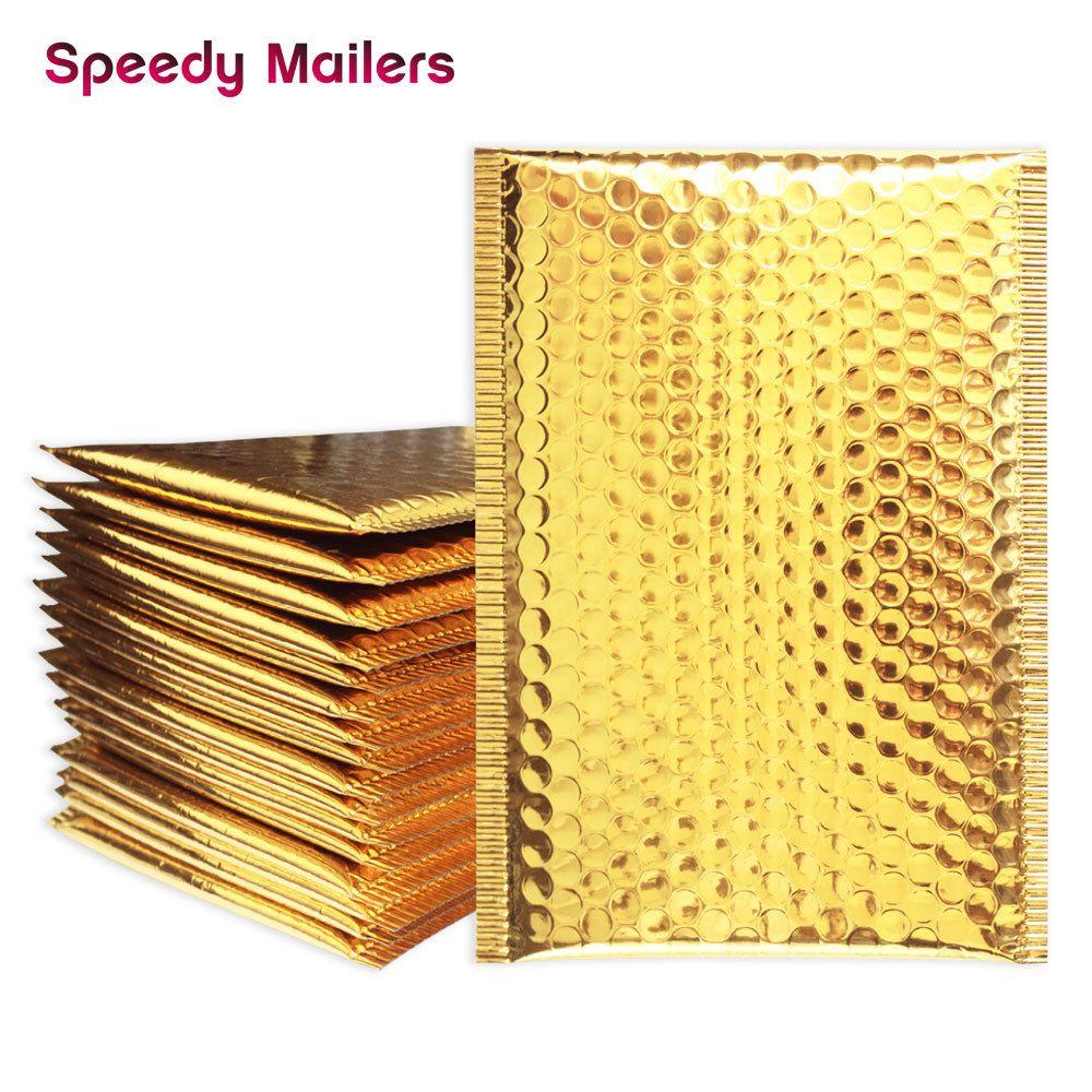 25PCS/Lot Gold Padded Bubble Envelopes Metallic Bubble Shipping Mailer Gold Aluminum Foil Gift Bag Packing Wrap T200717