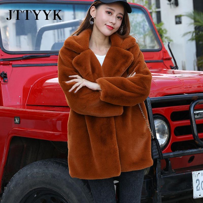 2020 Новая зима искусственного меха пальто женщина Luxury Шуба Сыпучие нагрудные Шинель Толстая Зимняя теплая куртка Плюс Размер плюшевые пальто