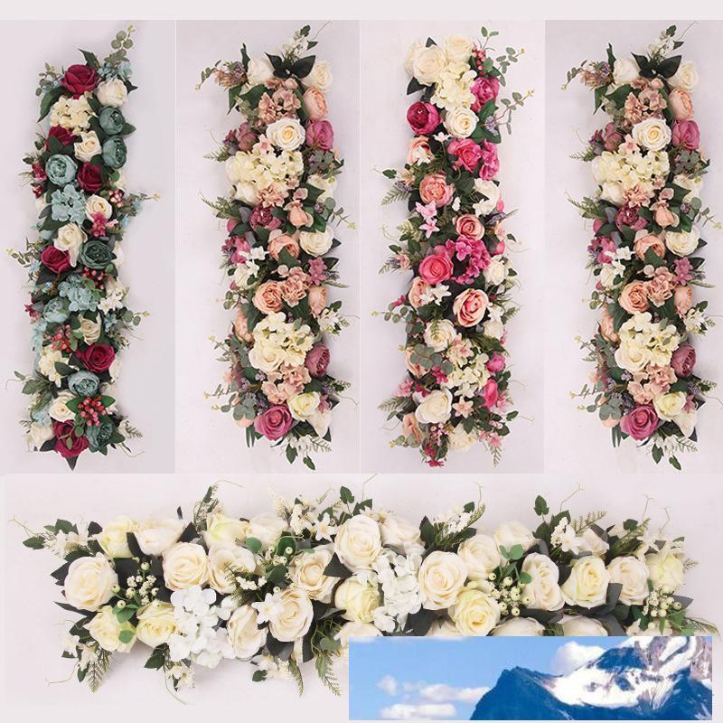 Rosequeen 100X25cm Long Artificial Arch Flower Row Table Flower Silk Flower with Foam Frame Runner Centerpiece Wedding Decorative Backdrop