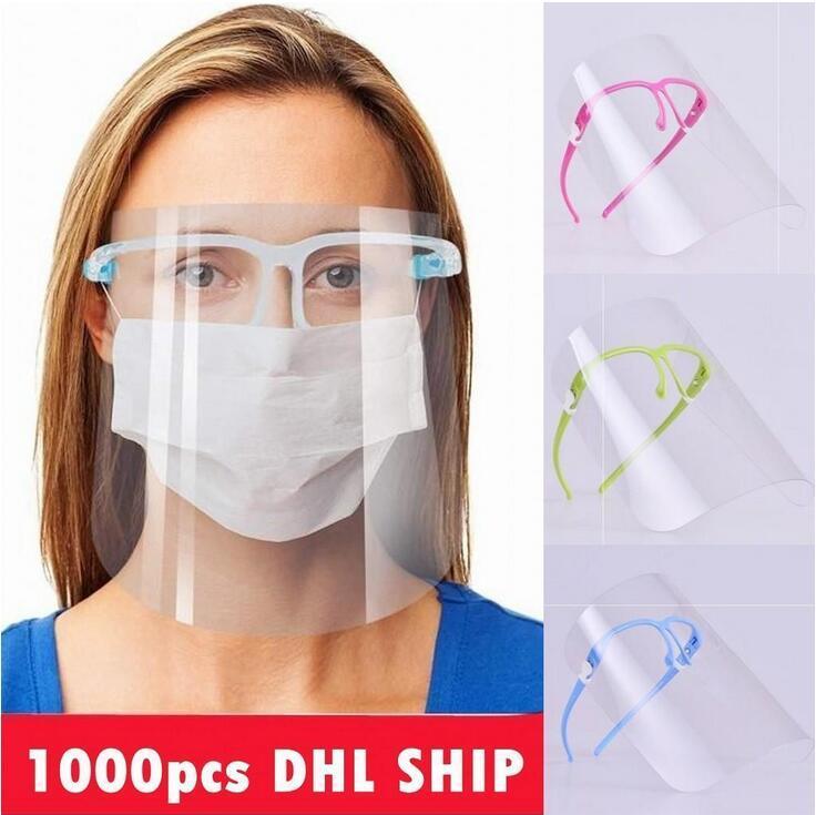 US-Stock-Schutzvollmaske mit Schutzbrillen Transparent Anti Flüssigkeiten Face Shield Antistaub-Splash Mund Gesicht Klare Schutzmaske