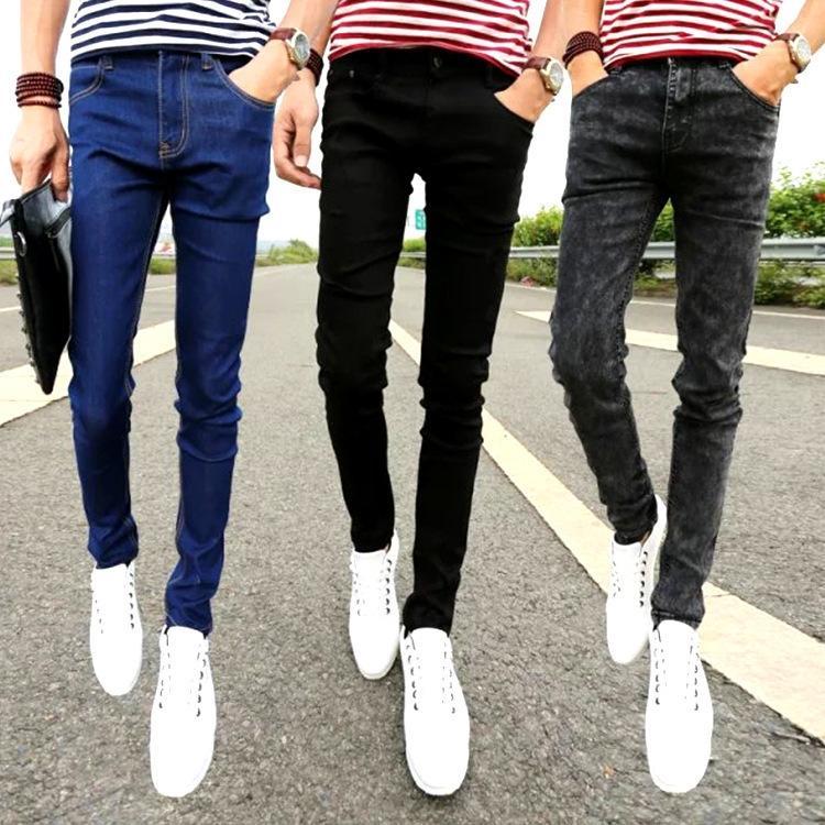 uomini 2NyGS stile coreano slim-fit leggings alla moda autunno nuovo nera e pantaloni jeans e pantaloni jeans da uomo tratto