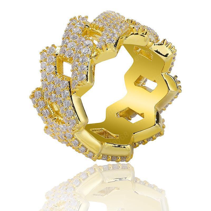Hip Hop Jewelry Mens anelli di diamanti Bling fuori ghiacciato squilla il modo di alta qualità Oro Argento