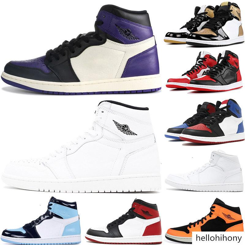 Basketball 1s pine green Phantom UNC union gold black bred toe court purple mens Athletic sports cheap sneakers 7-12