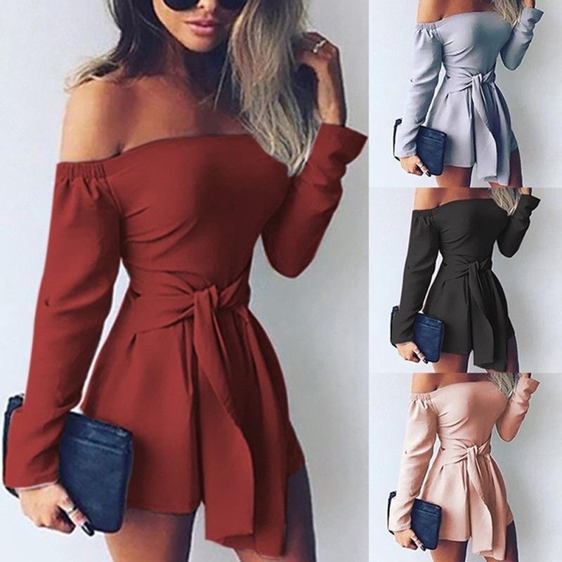 2020 New roupas baratas China atacado Jumpsuits europeus e norte-americanos das mulheres de macacão macacão cor sólida com ombros costura