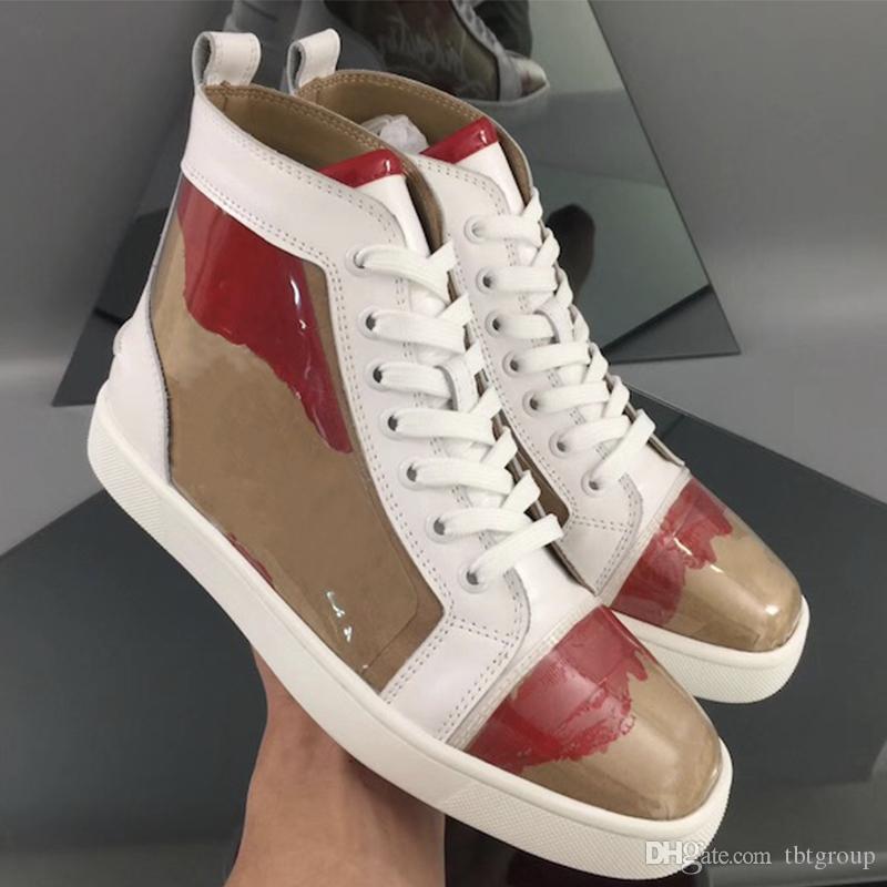 Últimas vermelhos sapatos de fundo pregos Spikes homens toe high top sneaker mulheres designer sapatos rasos sapatos kraft sneaker partido grande tamanho 4-13