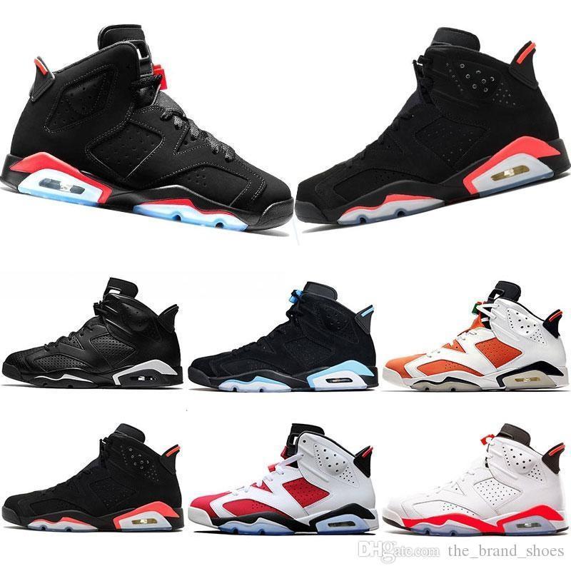 Nike Air Max Retro Jordan Shoes 6 الأحذية الرجال 6S كلاسيك Nakeskinالأردنريترو اللون القرمزي أوريو الأشعة تحت الحمراء كروم الرياضة بديلة القط الأسود الرجال المدربين حذاء رياضة